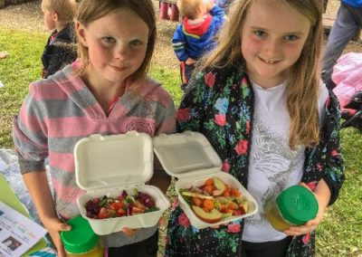 Cookery workshop at Scolton Manor PlayDay, making salads and dressing