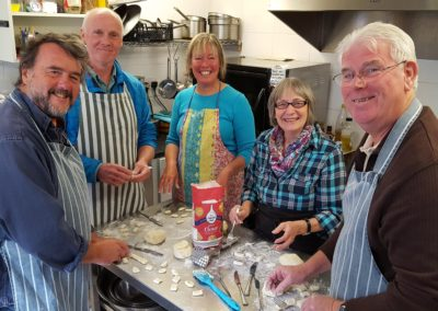 Cookery workshop at Transition cafe, making gnocchi
