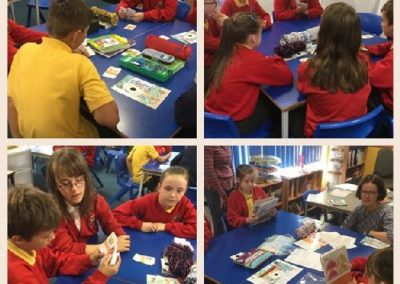 School pupils learning about food waste and surplus food and playing Eco Action food waste games