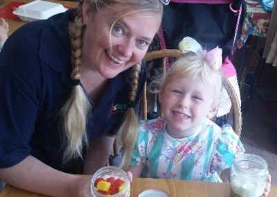 Cheesecake in a jar with the Little Acorns family group