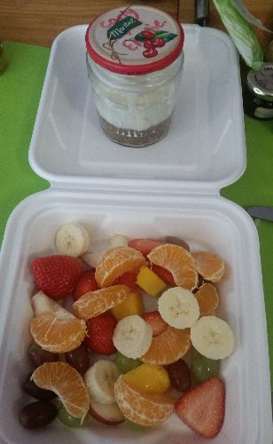 Fruit salad and cheesecake in a jar