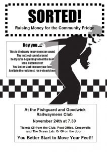Poster for Sorted! fundraiser gig at The Railwayman's Club 15 11 18