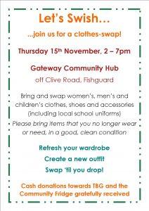 Clothes Swish poster 15th November 2018 at Gateway