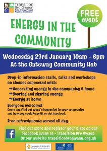 Poster for Energy in the Community event Wednesday 23rd January at Gateway Community Hub
