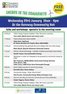 Timetable fo talks and workshops for Energy in the Community event on 23rd January 2019