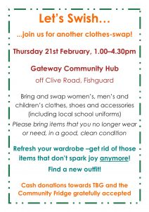 Clothes swap event at Gateway in Fishguard 21st February 2019