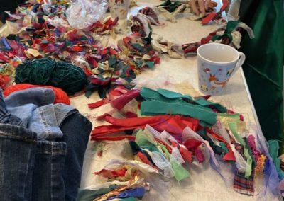 Rag wreath making